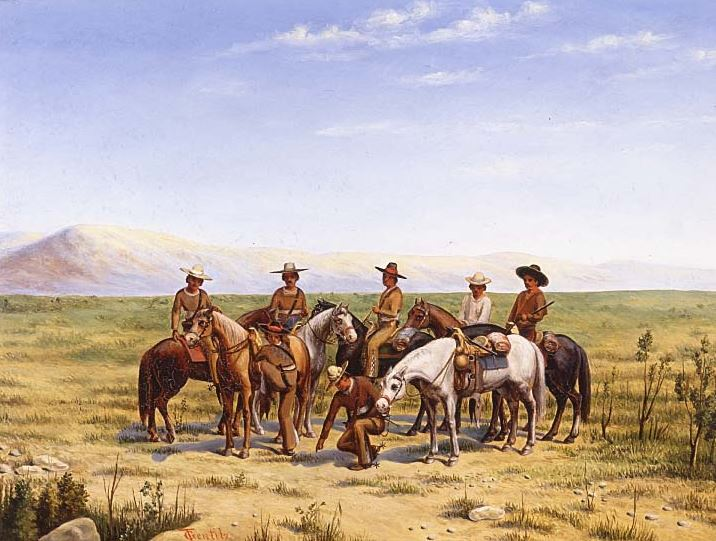 """Sobre la Huella (""""On the Trail"""") by Theodore Gentilz, ca. 1937. The painting depicts a Tejano Compania Volante patrolling the frontier."""