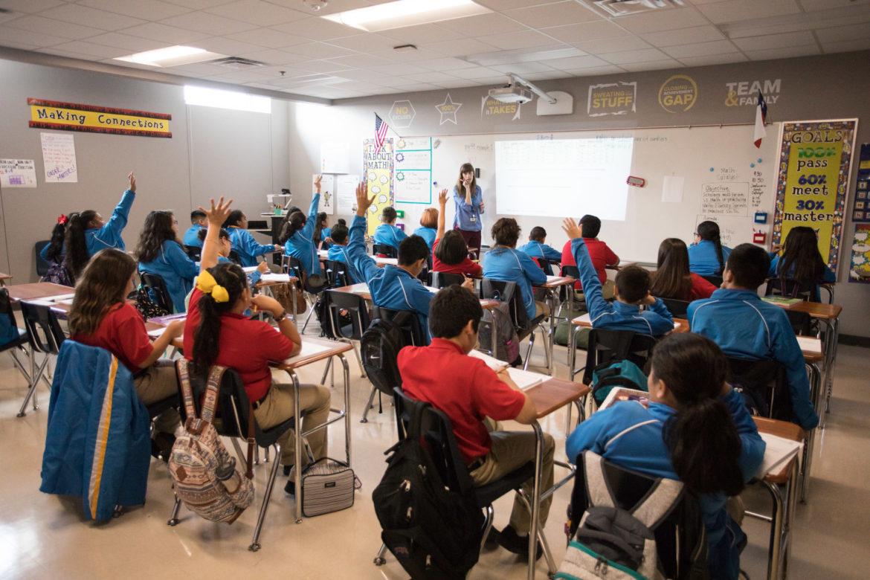 Sara Grossie, sixth grade math teacher at Ingram Mills College Prep, asks her students a question.