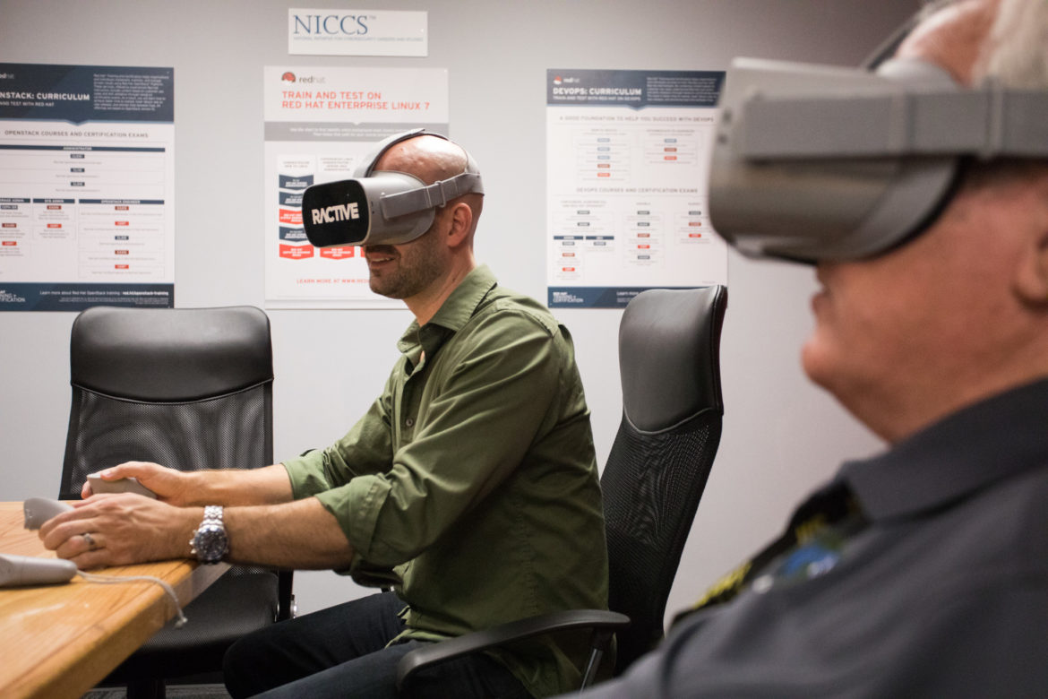(From left) Jonathan Perry, Ractive CEO, and Rob Dodson, DC Industries Course Developer and Senior Instructor, experiment with the VR headsets.