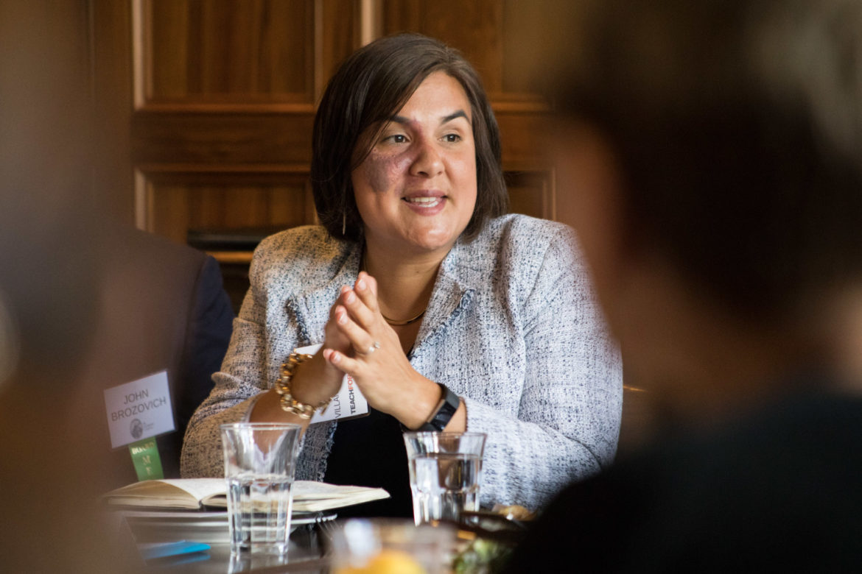 Elisa Villanueva Beard, Teach for America CEO, speaks at a luncheon at Supper on September 18, 2018.