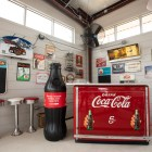 Vintage signs are used to decorate the inside seating area of StreetFare SA.
