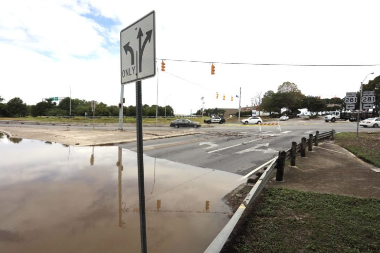The intersection of East Basse and US Hwy 281 has flooded following heavy rainfall.