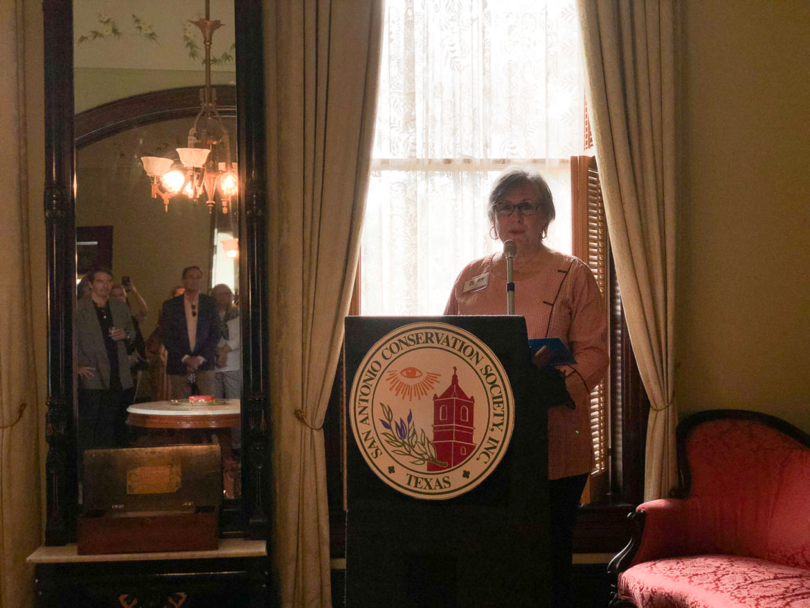 Jane Lewis, executive director of Villa Finale, speaks at a press conference announcing that the Edward Steves Homestead would be operated by Villa Finale.