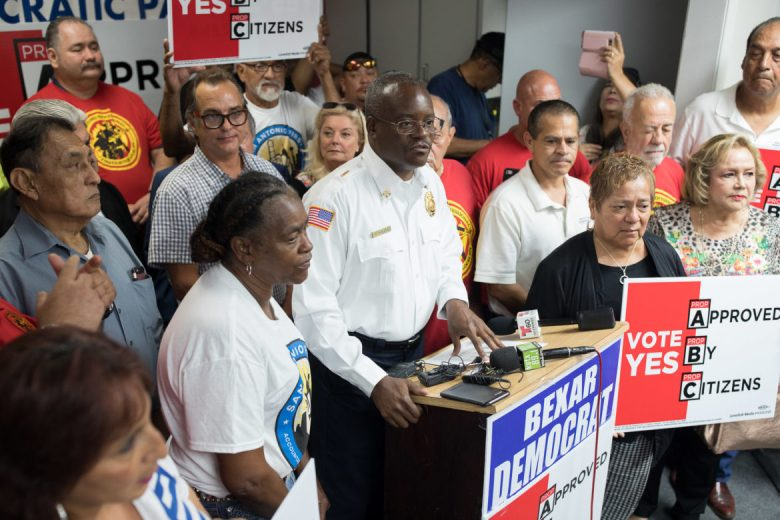 San Antonio Professional Firefighters Association President Chris Steele speaks during the scheduled press conference.