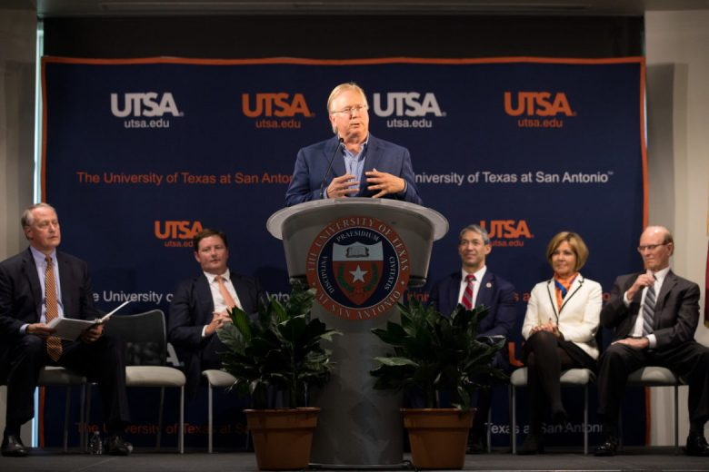 Graham Weston gives remarks after officially announcing a $15 million gift to UTSA.
