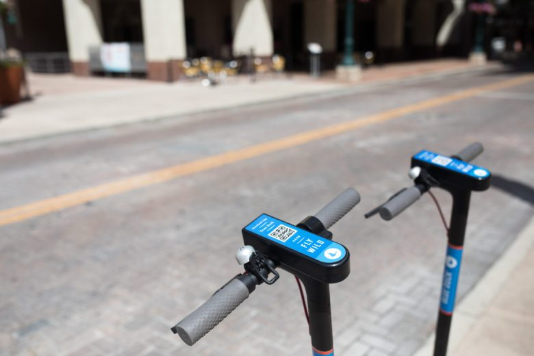 Blue Duck scooters in downtown San Antonio.