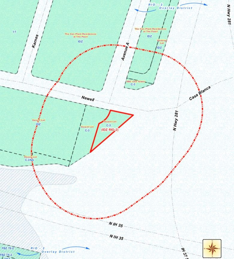 This map shows the location of the zoning case notification plan.