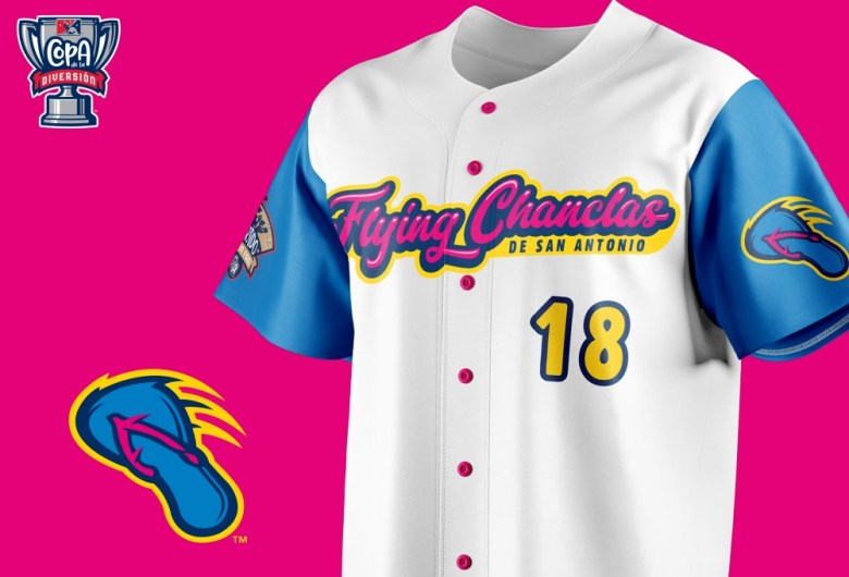 Flying Chanclas jerseys feature the hot pink and blue color scheme.