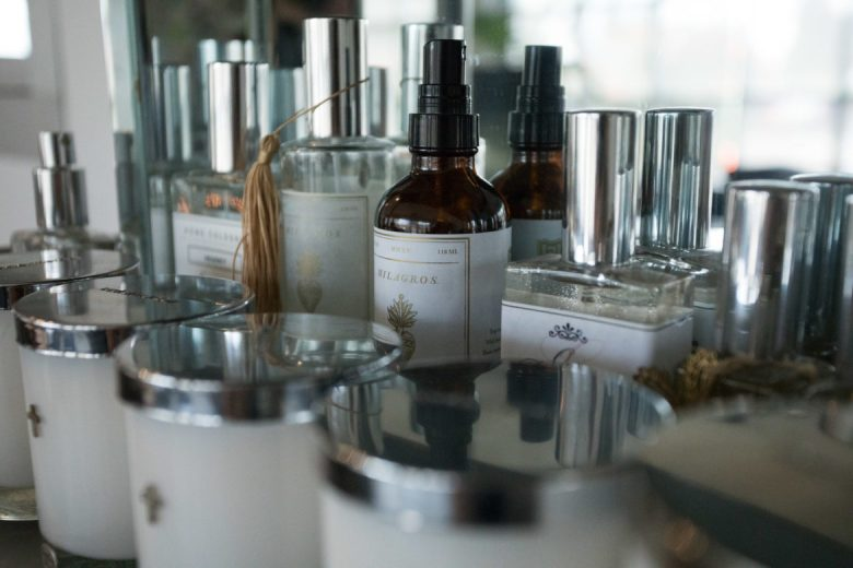 Sample scents are on display in the Soular Therapy front office.