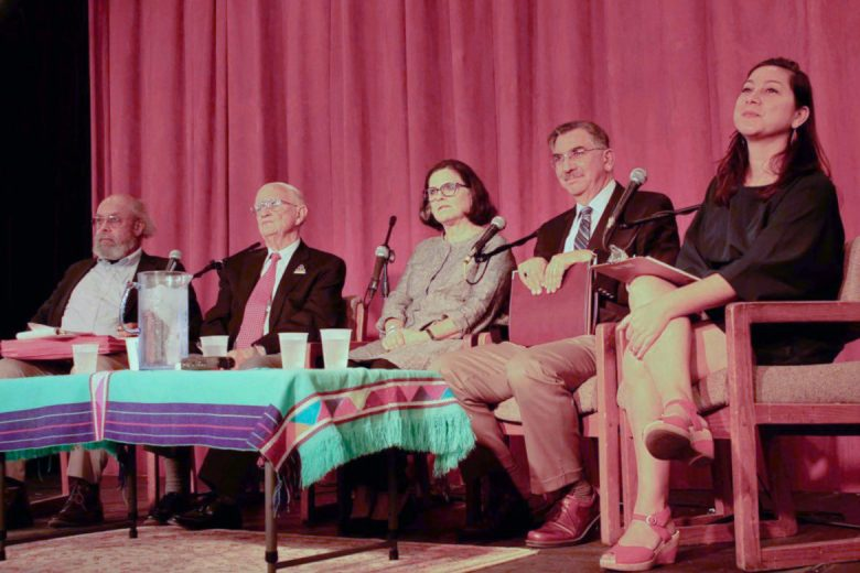 Gary Houston (left to right), Paul Ringenbach, Ann McGlone, Richard Flores and Sarah Zenaida Gould answer questions from the audience to end an Alamo Plaza history discussion at the Esperanza Center.