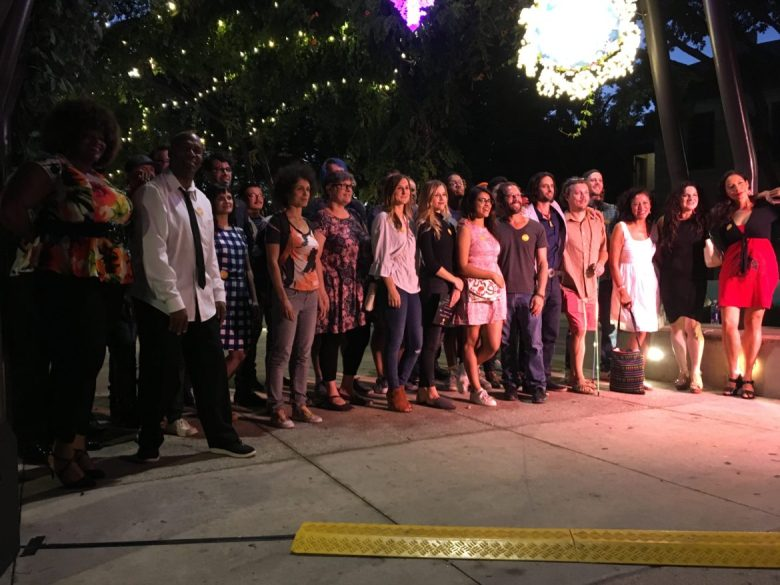 Artists involved with the 2018 Luminaria contemporary arts festival gathered for a media event at Hemisfair on Wednesday night.
