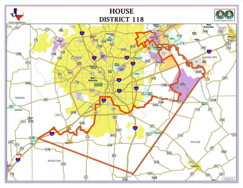 The District 118 boundary spreads through Southeast Bexar County and into the Northeast.