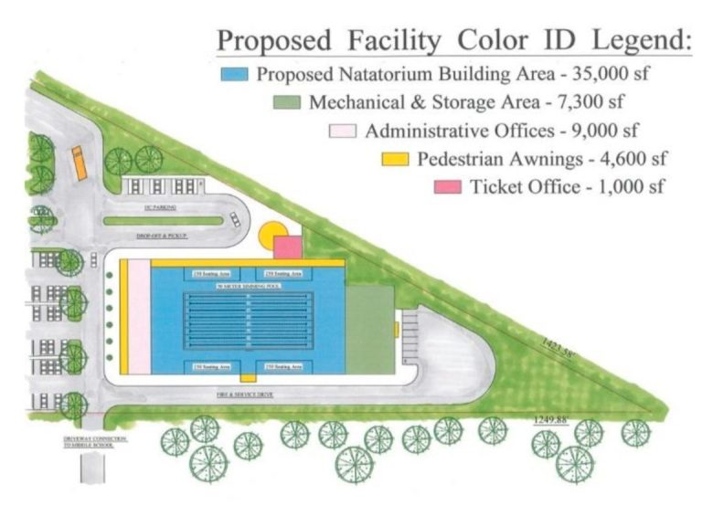 A map of the proposed Natatorium Building at Southwest ISD.