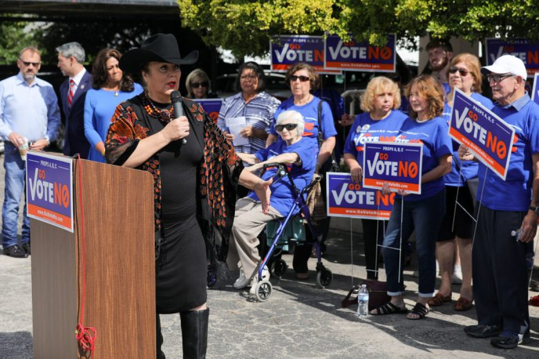 Verna Blackwell speaks to fellow supporters of the Go Vote No campaign during a press conference.