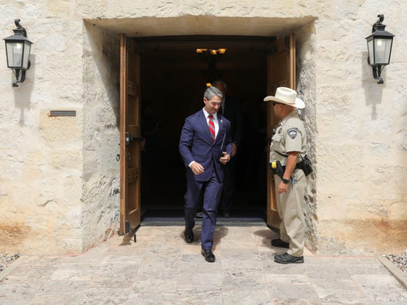 Mayor Ron Nirenberg exits Alamo Hall just moments after signing the resolution in support of the proposed Alamo redevelopment plan.