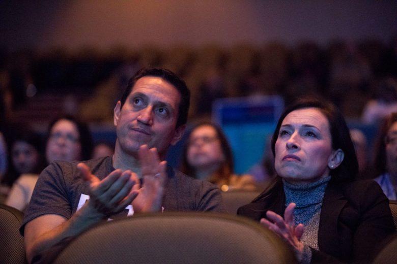 Trey Martinez-Fischer applauds during the Cruz - O'Rourke debate watch party at Palo Alto College.