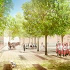 This rendering shows the open space in Alamo Plaza.