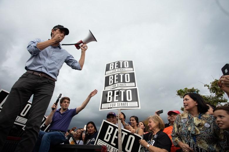 Beto O'Rourke leads a rally at Gilbert Garza Park.