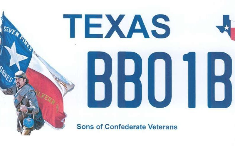 The current proposed Texas license plate honoring Confederate Veterans.