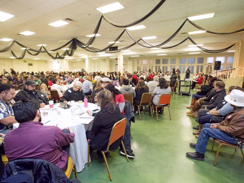 Hundreds of people attend a public meeting regarding the San Antonio housing policy framework.