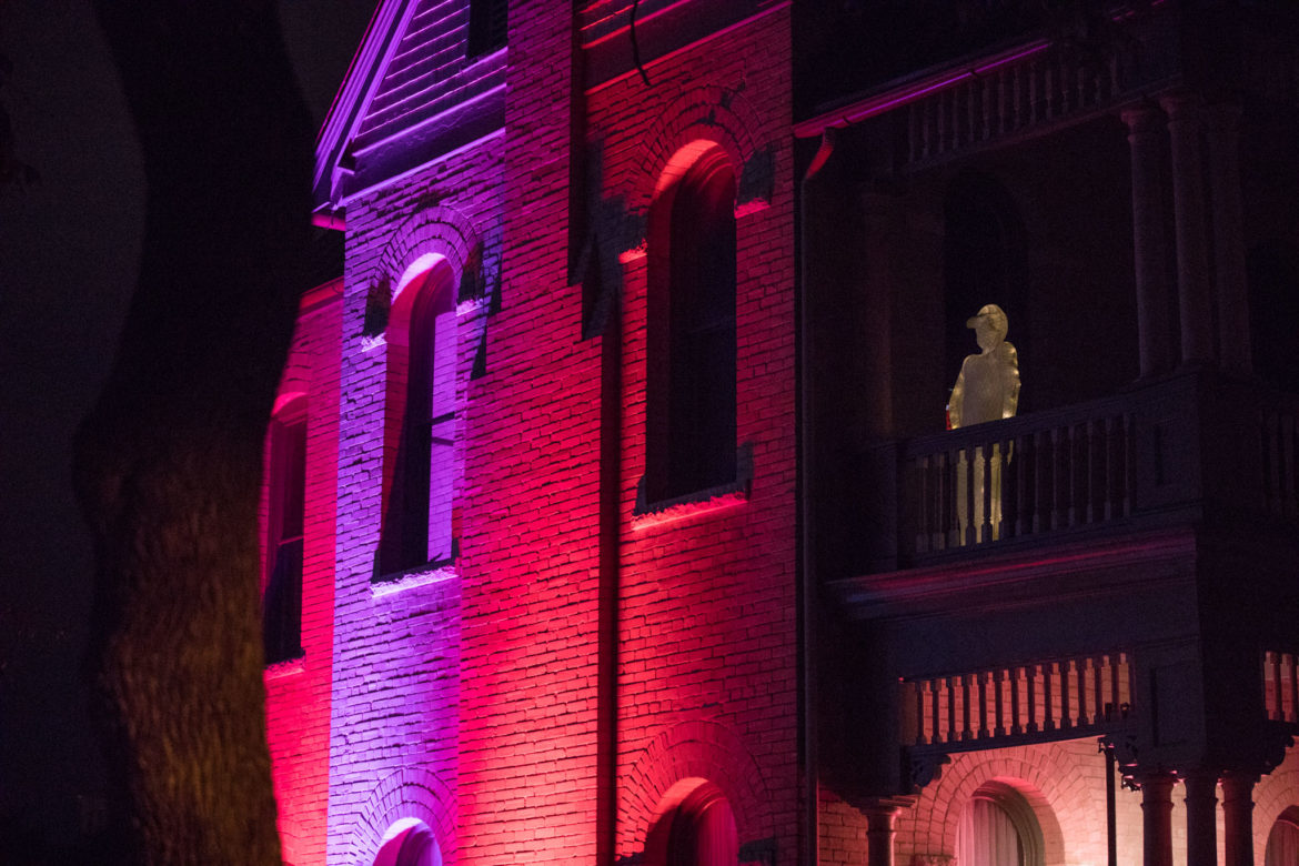 Kat Cadena, Malia Gomez, and Mary Jendrzey installed a series of statues of human form for Luminaria.