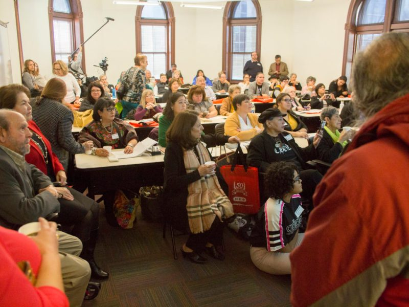 The room is full for the Chicana Activism panel during Holding Up the Mirror: The 50th Anniversary of the U.S. Civil Rights Commission Hearing on Mexican Americans in the Southwest held at Our Lady of the Lake University.