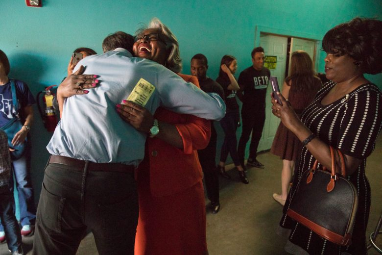 Beto O'Rourke and State Representative Barbara Gervin-Hawkins hug prior to a rally for O'Rourke at Alamo Music Hall.