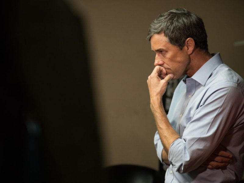 Beto O'Rourke speaks to members of the press prior to a rally where he addressed supporters days before the midterm election.