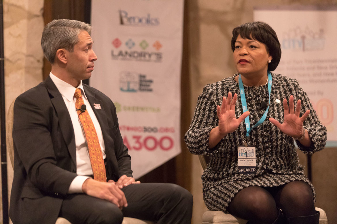New Orleans Mayor LaToya Cantrell and San Antonio Mayor Ron Nirenberg participate in the panel A Tale of Two Tricentennials: How San Antonio and New Orleans Celebrated 300 Years, and How History Is Turned in Momentum