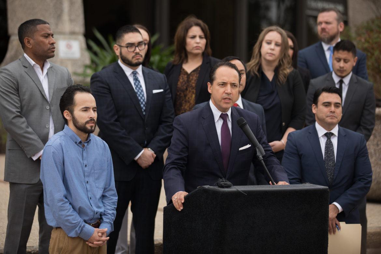 Texas State Senator Jose Menendez (D26) speaks in defense of Julio Cesar Ovalle.