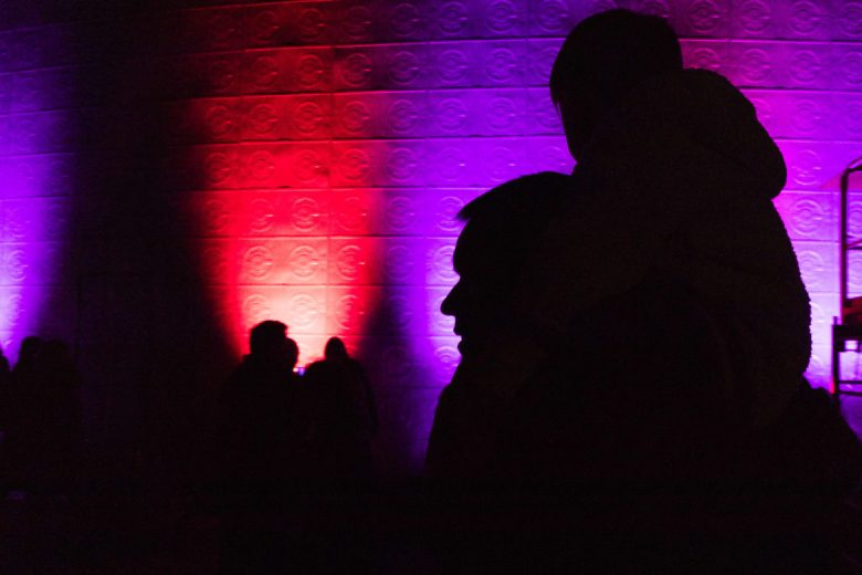 Colorful lights shine alongside the Instituto Cultural de Mexico at Hemisfair.