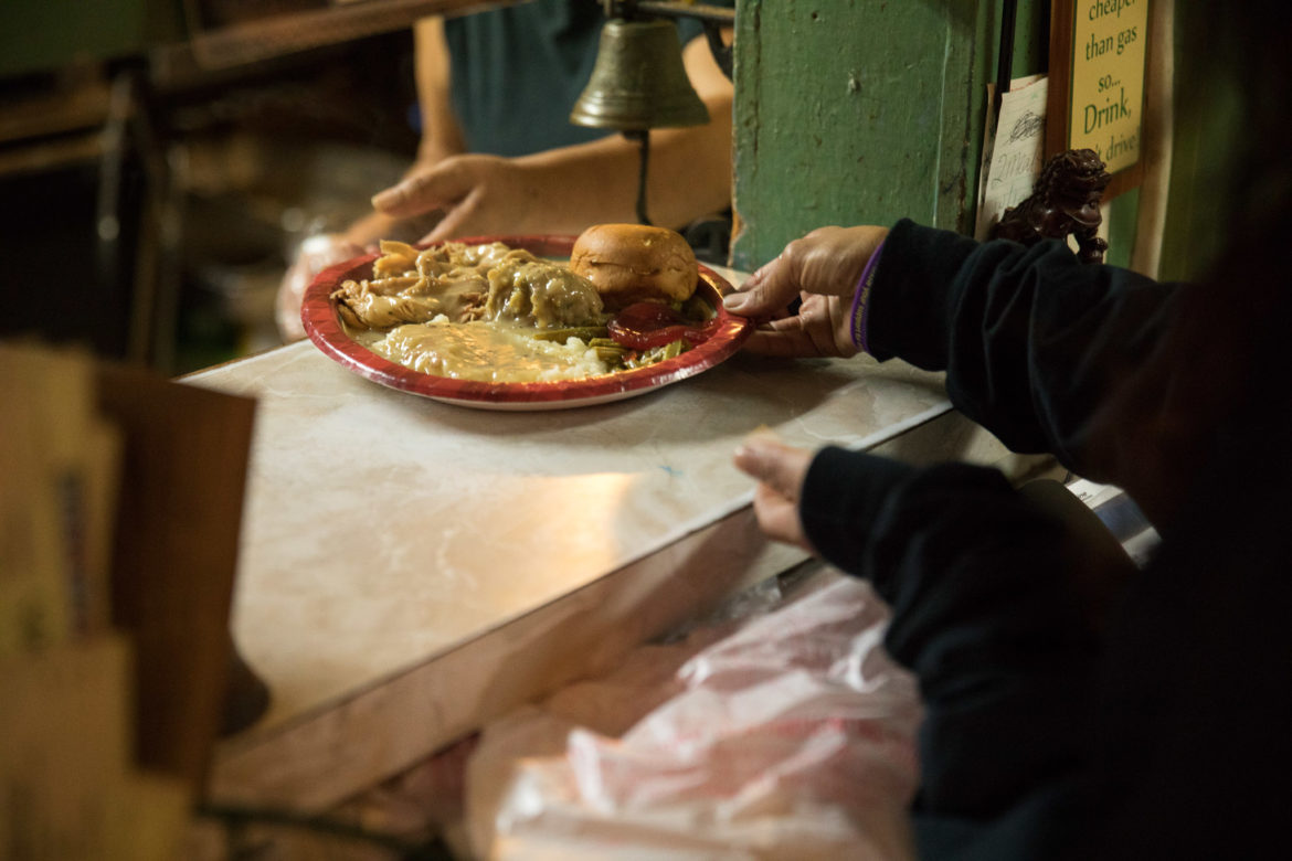 A Thanksgiving plate at Maria's Cafe is served after two rings from the kitchen service bell.