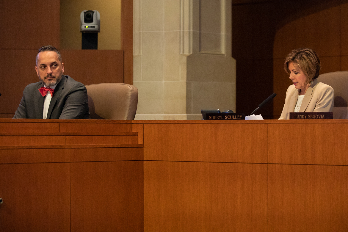 (From left) Councilman Greg Brockhouse (D6) and City Manager Sheryl Sculley.