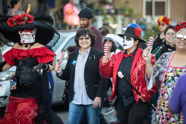 Gubernatorial candidate Lupe Valdez walks in the procession.