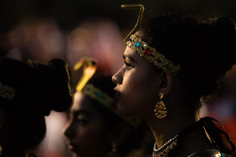 Dancers line up before their performance on stage at Diwali.