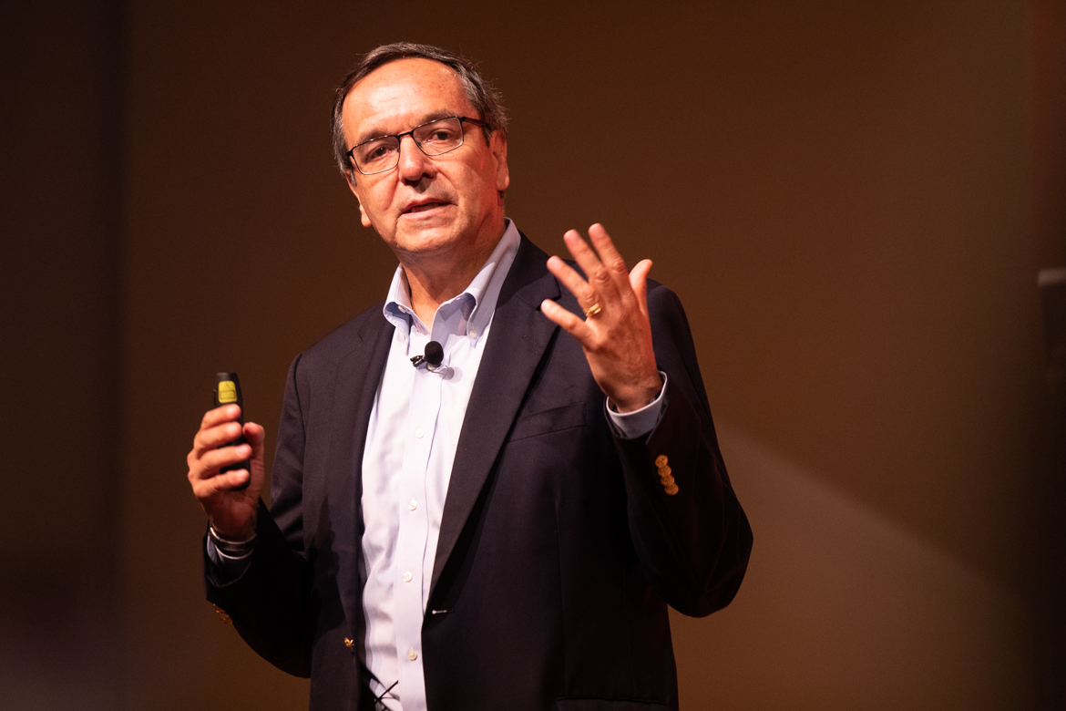 Gil Penalosa, 8 80 Cities founder, speaks as the keynote speaker at a luncheon at the Pearl Stables during CityFest on November 8, 2018.