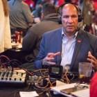 San Antonio Commanders team president Vic Gregovits is interviewed for a radio segment.