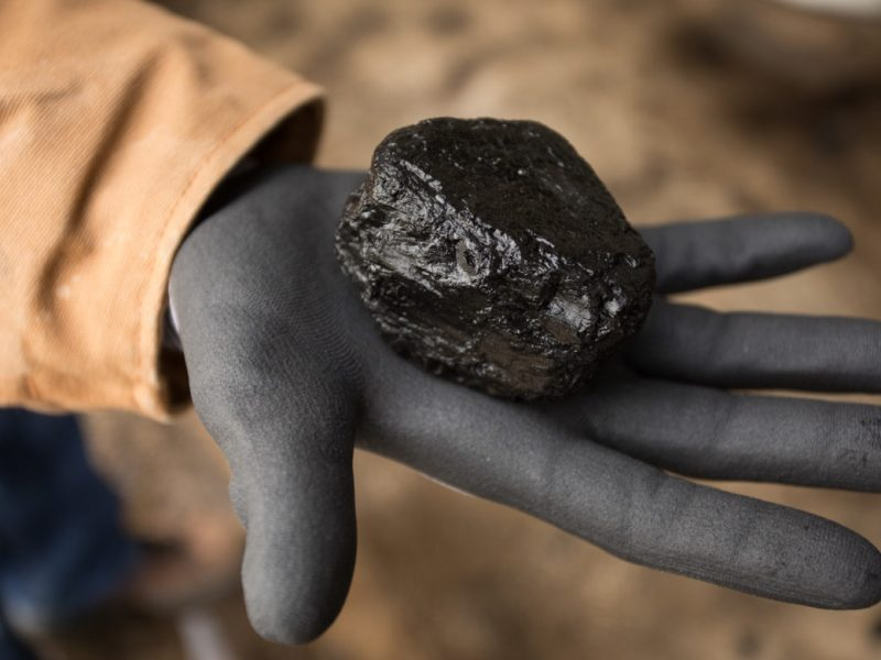 A fragment of coal that was below a conveyor belt at the Deely plant.