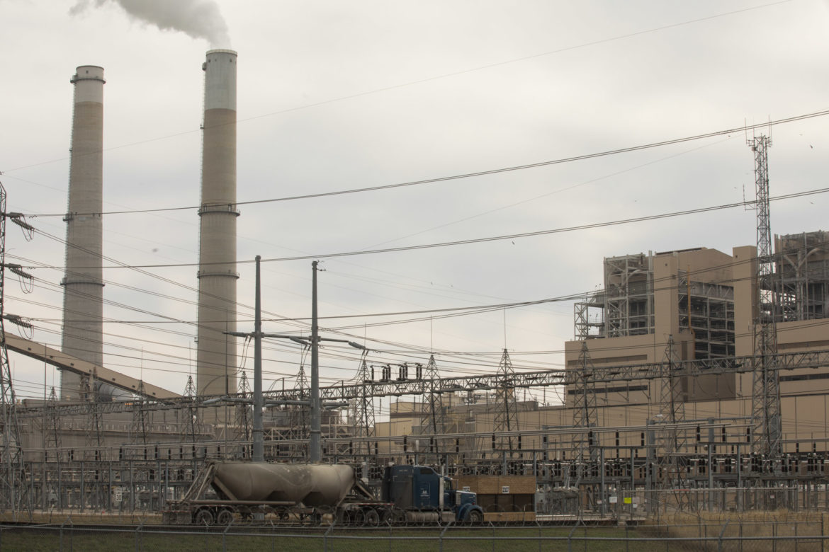 A view from an access road at Calaveras Power Station of (from left) CPS Energy Spruce units and Deely units.
