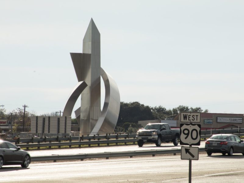 The Lackland Corridor Gateway Sculpture is located at the intersection of West Military Drive and Highway 90.