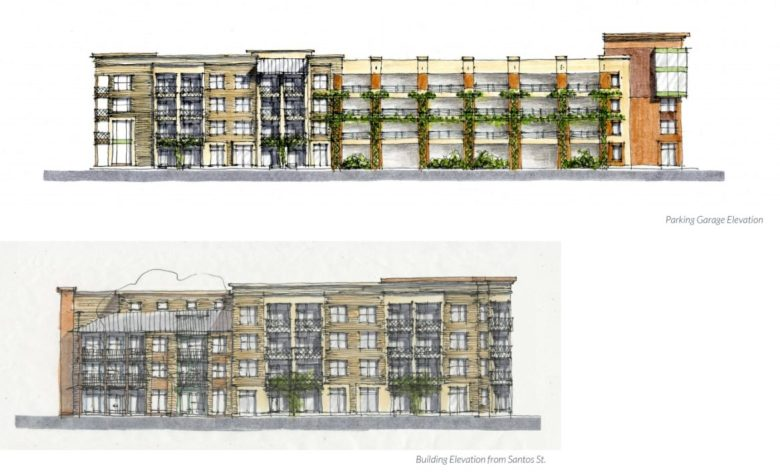 The building and parking garage elevation of the 100 Labor Street property.
