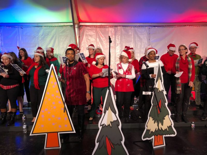 The NuStar Choir and the NuStar Band perform holiday songs during the 9th annual Ho Ho Hope for the Holidays Dinner.