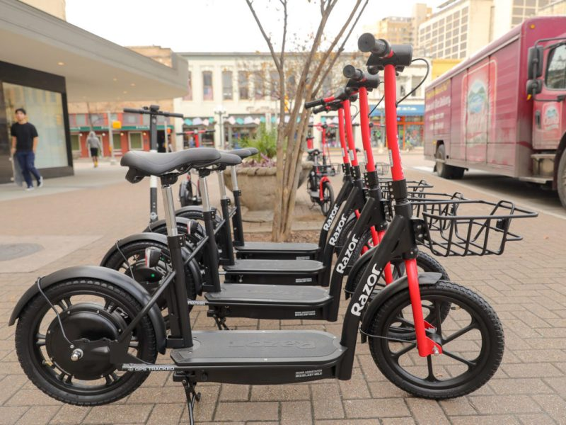 Razor EcoSmart scooters come equipped with seats and baskets for extra storage.
