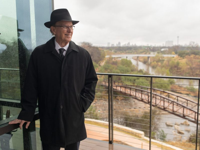 County Judge Nelson Wolff overlooks the San Antonio River and the Mission Reach from the newly constructed Bexar County Public Works building.