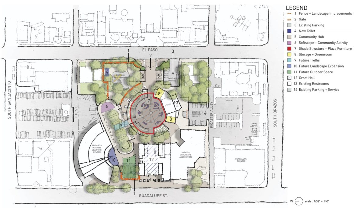The second of two concept plans for Plaza Guadalupe.