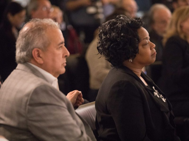 (from left) SAWS President and CEO Robert Puente and CPS Energy CEO Paula Gold-Williams.
