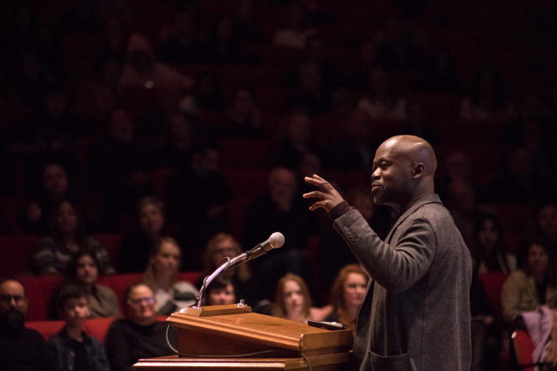Architect David Adjaye speaks at Trinity University on Jan. 29, 2019.