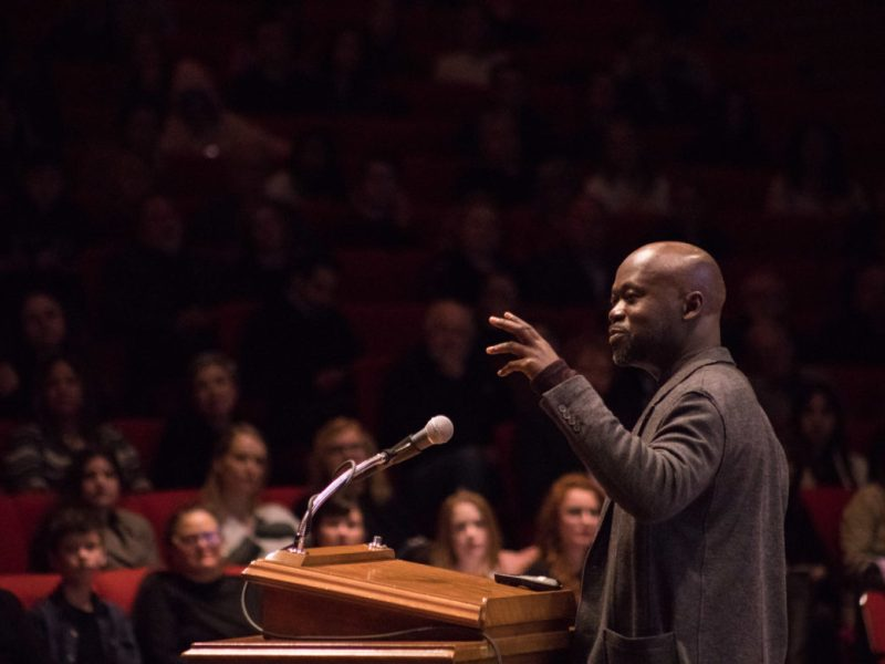Architect David Adjaye speaks at Trinity University on Jan. 29, 2019.