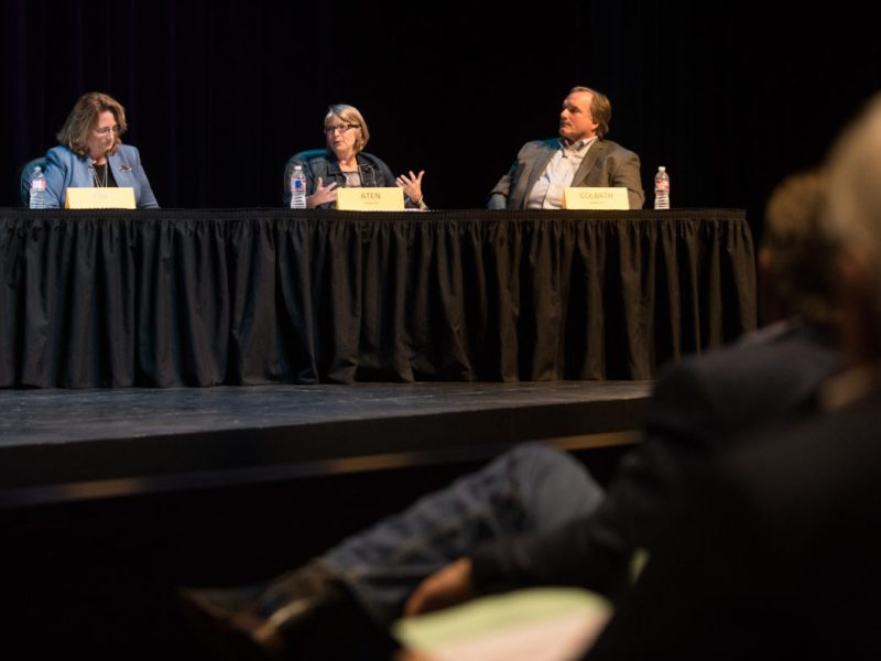 (From left) Mary Beth Fisk, Laura Aten, and David Colbath participate in a conversation on arming school staff.