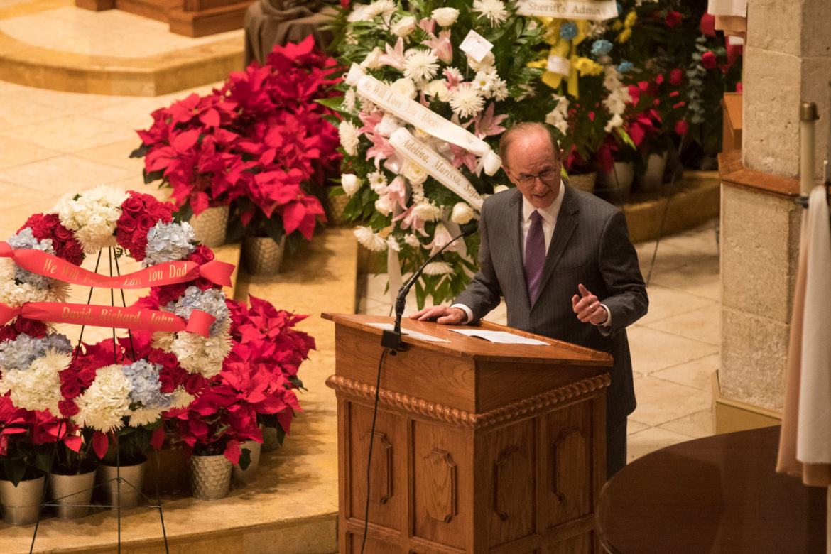 Bexar County Judge Nelson Wolff gives a eulogy in honor of Paul Elizondo.